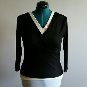 BUNDLE EUC sheer black/cream wrap top size large